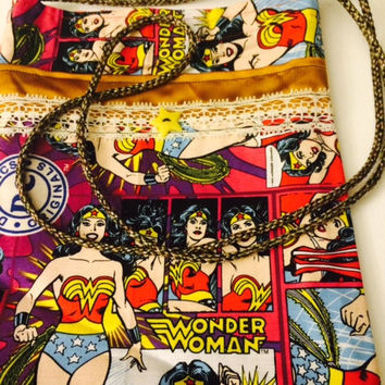 Wonder Woman, Cross Body, Shoulder Bag, Super Hero, Comic Book, Velcro Bag, Fabric, Clutch, Accessory Bag, Cosmetic Case, Ready to Ship