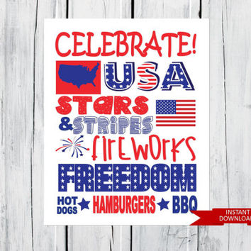July 4th Patriotic Word Art Print Fourth of July -  8x10 PDF Instant  Download