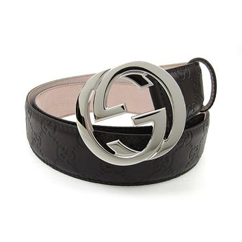 Gucci Interlocking Large G Buckle Black Signature Leather Belt size 95.38