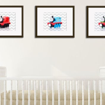 Set of 3 Thomas the train photo print,nursery train decor,boys room decor,baby boy decor,nursery boys decor,Thomas the train decor