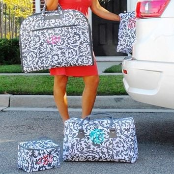3 Piece Monogrammed Ladies Travel Bag Set In Grey and White Damask