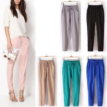 2014 Women Korean Vintage Chiffon Harem Pants Elastic Drawstring Pants Trousers = 1651427140