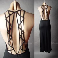 Cage Harness Strappy Open Back Backless Jersey Slip Long Maxi 26 mv Dress S M L