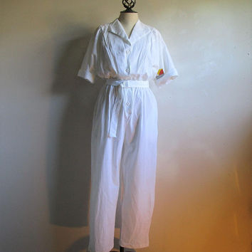 White 80s Cotton Crinkle Playsuit Vintage NOS Short Sleeves Casual Sport 1980s Deadstock Jumpsuit LRG