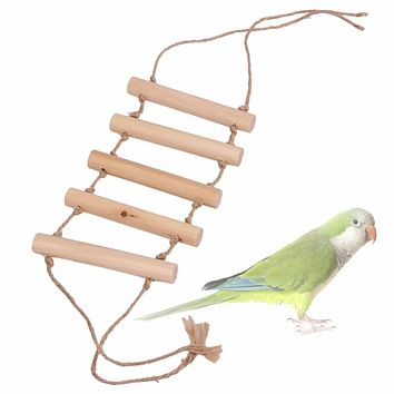 Wooden Small Parrot Toys Bridge Ladder for Rat Hamster Bird Cage Accessories Small Animal Toy Pet Birds Supplies