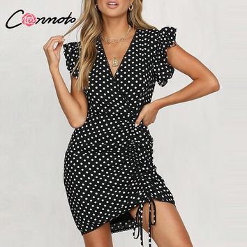 Conmoto 2019 Summer Women Black Polka Dot Short Dress Female Sexy V Neck High Waist Drawstring Party Dress Girl Holiday Vestidos