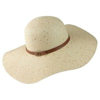 Women's Flopy Brim Hat with Thin Cognac Sash - Natural