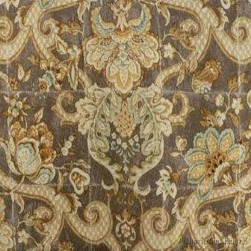Waverly Cotton Floral Drapery Fabric Archival Urn Amber Taupe Gold Copper