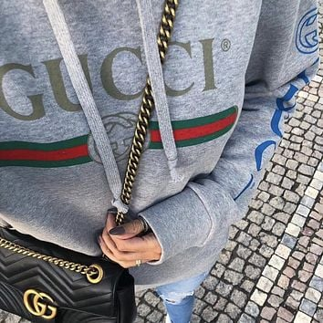GUCCI Oversize sweatshirt with Gucci logo dragon embroidery