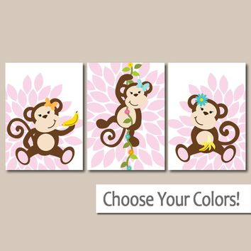 Girl Monkey Wall Art, MONKEY NURSERY Theme Baby Girl Nursery Decor, Sisters Bedroom Decor, Flower Burst Canvas or Prints Girl Set of 3