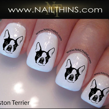 Boston Terrier Nail Decal Dog Nail Design Canine Nail Art NAILTHINS