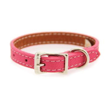 Tuscan Leather Dog Collar - Pink