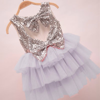 "The ""Gigi"" Gray Shimmer Silver Sequin Bow Baby Toddler Dress"
