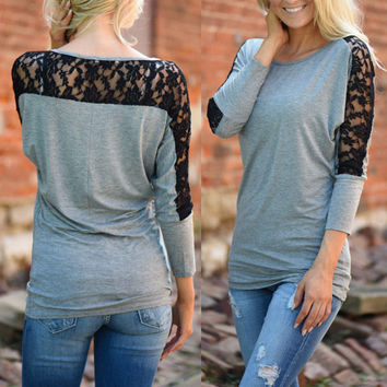 Lace Autumn Three-quarter Sleeve T-shirts [9307390916]