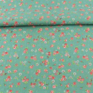 Cotton Fabric Sewing Green Printed Floral Designs Tecido Scrapbooking Bedding Twill Cloth Home Textile Dolls Quilting Patchwork