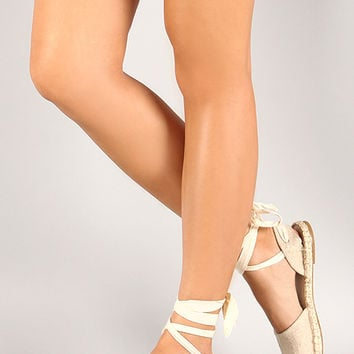 Bamboo Canvas Espadrille Lace Up Flat Sandal