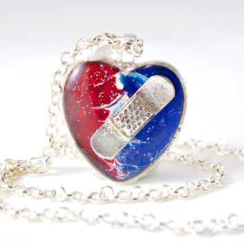 Red, White, & Blue Bandaid Necklace