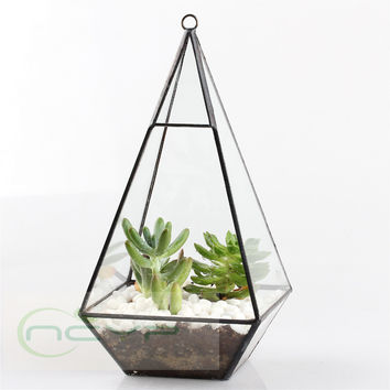 Bonsai Modern Glass Geometric Terrarium Pyramid Succulent Box Planter Flower Pot Eco Bottle Miniature Miero Landscape Vivaria