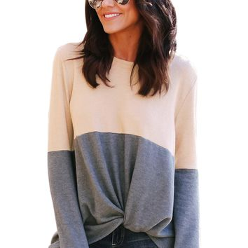 Gray Colorblock Twist Women's Top