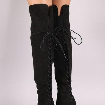 LMFIW1 Bamboo Suede Back Corset Chunky Heeled Over-The-Knee Boots