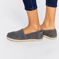 TOMS Classic Grey Suede Moroccan Flat Shoes