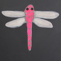 """Pink Black Dragonfly / Silver Wings / Original Painting / Textured / Home Decor / Wall Art / Unique Gift / Magical / Katy Karnes 8""""x10"""""""