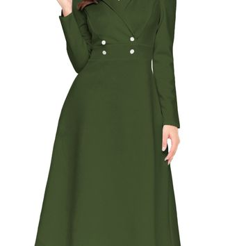 Army Green Button Collared Fit-and-flare Vintage Dress