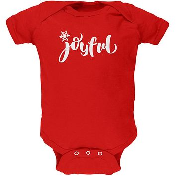 Christmas Joyful Script Snowflake Soft Baby One Piece