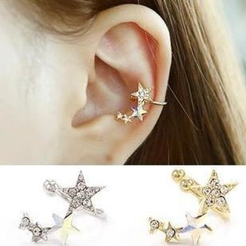 Shiny Earring Fashion Diamond Star Clip Earring [11624149844]