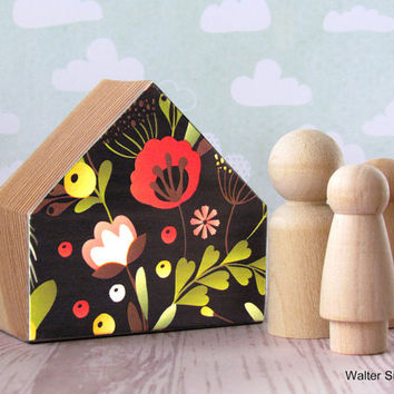 Floral Decoupaged Mini Wooden House - Peg Doll Family House - Wooden Toys
