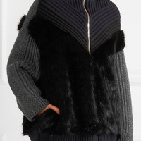 Stella McCartney - Oversized faux fur-paneled ribbed wool hooded cardigan