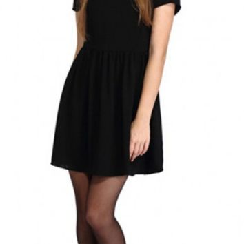 Black Peter Pan Collar Swing Dress