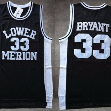 kobe Bryant Lower Merion High School Basketball Jersey #33 Bryant Ko-Be High School White Red Black Throwback Basketball Jersey