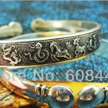 BR103 Zodiac Chinese Constellation vintage retro Metal Tibetan Silver Cuff Bracelet Bangle gift  for her for him Cuff