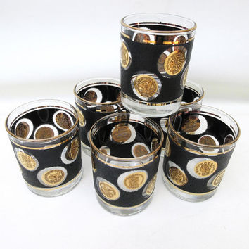 Vintage Coin Glasses, Black Gold Bar Glasses, High Ball Glasses, Libbey Glassware, Scotch Glasses, Gold Coins