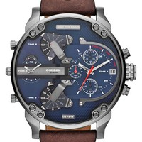 Men's DIESEL 'Mr. Daddy 2.0' Chronograph Leather Strap Watch, 57mm - Brown/ Blue
