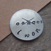 I Beat Cancer - Cancer Survivor  - Hand Stamped Pocket Token Golf Marker Key Ring Necklace