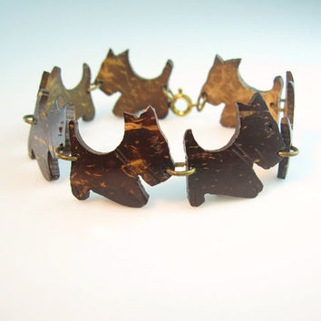 Scottie Bracelet Vintage Scotty Dog Scottish Terriers 1940s Art Deco Scottie Jewelry Carved Coconut Shell Brown
