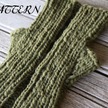 Knitted Children's Fingerless Gloves Pattern PDF - Wrist Warmers Knit Pattern - Morehouse Merino Wool