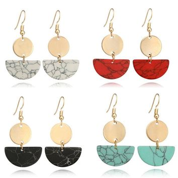 1Pair Geometric Earrings Marble Pattern Semi-Round Drop Dangle Earring RS