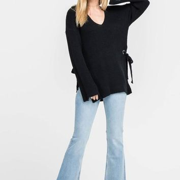 LUSH Open Back Sweater with Side Tie