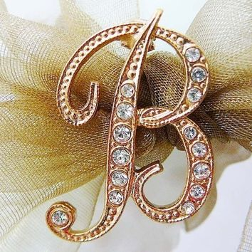 Vintage .. B is for Beautiful ..Czech Rhinestone Goldtone Brooch