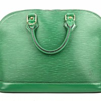 Auth LOUIS VUITTON ALMA EPI LEATHER GREEN HAND BAG AUTHENTIC LV LEATHER