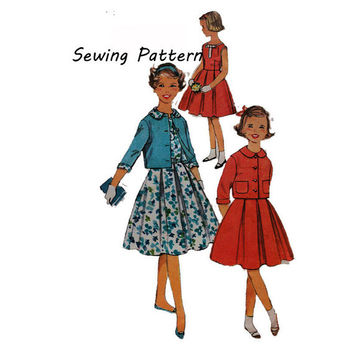 Simplicity 2862 Girl's Sleeveless Dress, Peter Pan Collar Box Jacket Vintage Sewing Pattern 1950s Rockabilly Style Size 10 Chest 28in/71cm