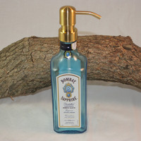 Soap/Lotion Dispenser Upcycled from Bombay Sapphire Gin Bottle