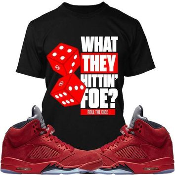 Jordan Retro 5 Red Suede Sneaker Tees Shirts - ROLL THE DICE