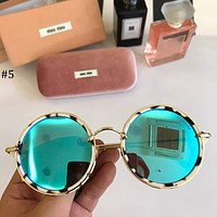 MIUMIU 2018 new retro round frame fashion color film metal sunglasses #5