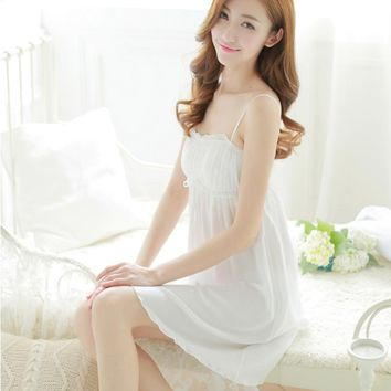 Fashion spaghetti strap fresh lovely fashion nightgown royal princess 100% white cotton sleepwear lounge