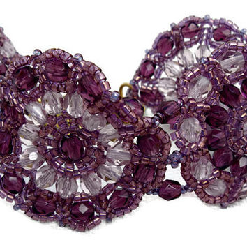 Lilac and Amethyst beaded bracelet with Czech faceted. Seed beads cuff.
