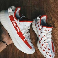ADIDAS YEEZY BOOST 350 V2 Supreme & LV Women Men Sneakers Running Sports Shoes